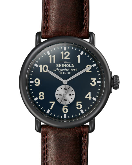 Shinola Men's Runwell 47mm Watch with Brown Leather Strap