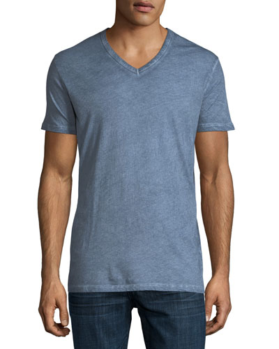 Hand-Dyed Short-Sleeve V-Neck T-Shirt