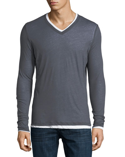 Long-Sleeve Double-Layer Cotton/Cashmere V-Neck T-Shirt
