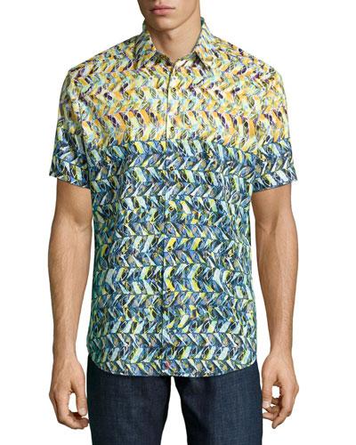 Kalawo Multi-Print Short-Sleeve Sport Shirt, Multi