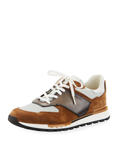 Run Track Leather, Suede And Nylon Sneakers - BrownBerluti
