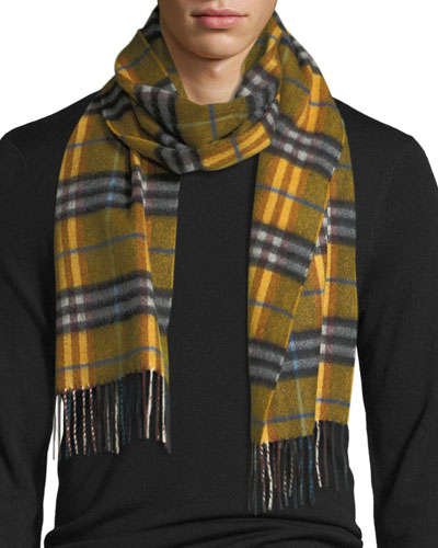 Castleford Check Cashmere Scarf, Yellow