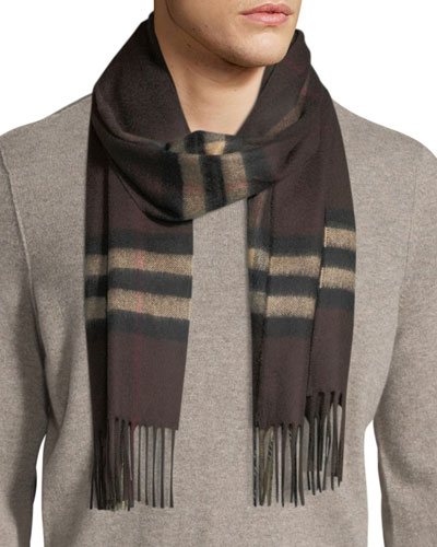 Men's Giant-Check Cashmere Scarf, Brown