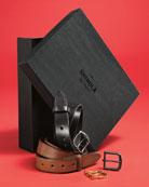 Men's Leather Belt Boxed Gift Set