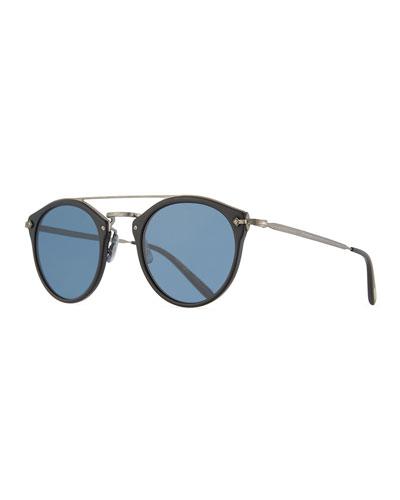 Remick Vintage Brow-Bar Sunglasses