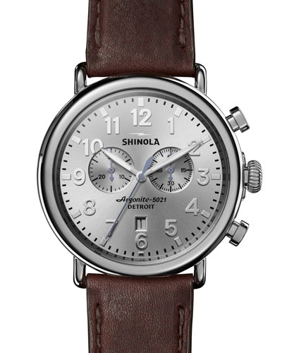 Runwell Leather Watch, Brown/Silver