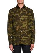 Camouflage-Print Sport Shirt, Dark Green