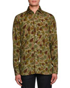 TOM FORD Camouflage-Print Sport Shirt, Green