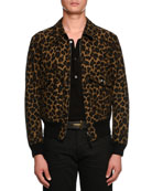 Leopard-Print Short Bomber Jacket