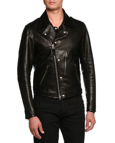 Asymmetric-Zip Leather Biker Jacket