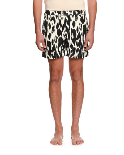 Graphic-Print Swim Trunks
