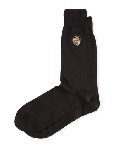 Black Embroidered Sun Sock