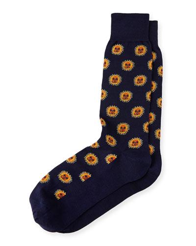 Navy Sun Motif Socks