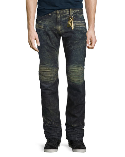 Motard Distressed Denim Jeans, Dirty Brown