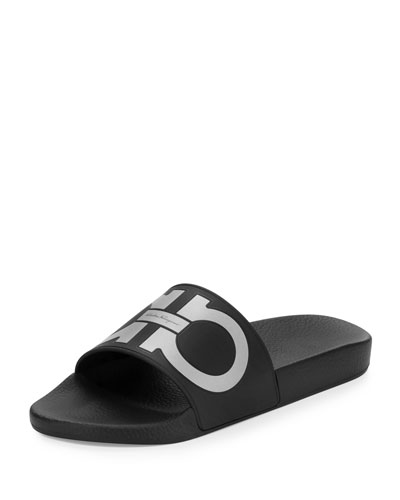 Gancini Pool Slide Sandal, Black/Silver
