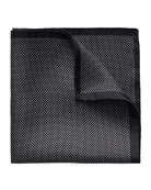 Polka-Dot Silk Pocket Square, Black