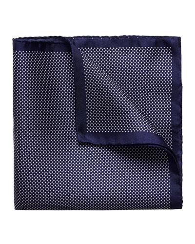 Polka-Dot Silk Pocket Square, Navy