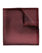 Polka-Dot Silk Pocket Square, Burgundy