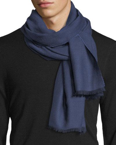 Merino Wool Herringbone Scarf, Blue