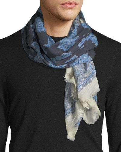 Medallion-Print Wool-Blend Scarf