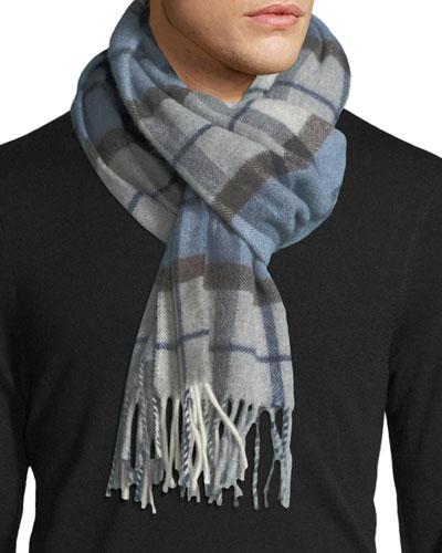 Plaid Wool Scarf, Blue