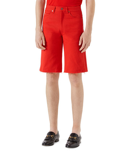 Bleach-Washed Cotton Shorts