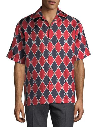 Graphic Logo Pattern Silk Bowling Shirt
