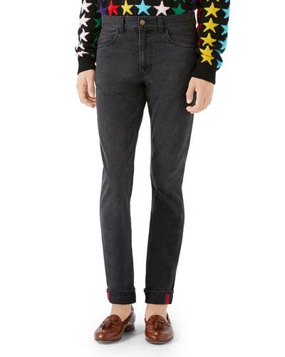 Cuffed Slim-Leg Denim Pants