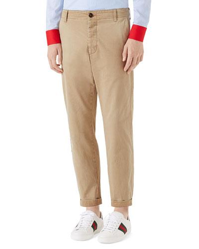 Dragon-Embroidered Chino Pants