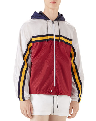 Colorblock Zip-Front Wind-Resistant Jacket