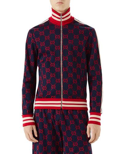 GG-Jacquard Zip-Front Jacket