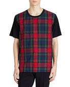 Cotton T-Shirt w/ Tartan Check Panel