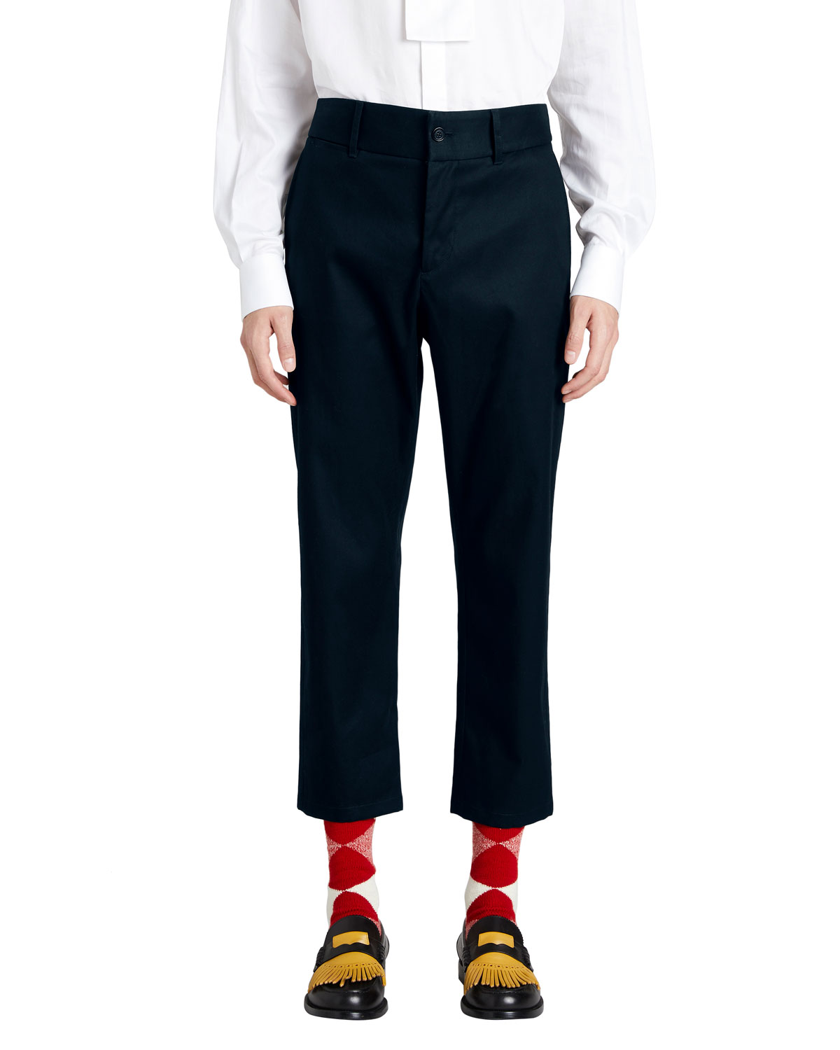 Cotton Twill Cropped Chino Pants