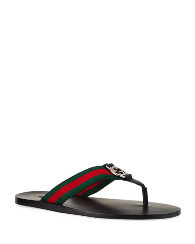 GG Line Signature Web Thong Sandal