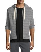 Herringbone-Knit Zip-Front Hoodie
