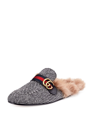 New Princetown Herringbone Fur-Lined Slipper with Double G, Black/White