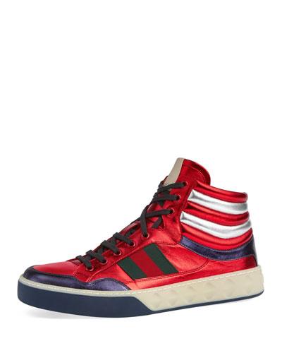 Metallic Leather High-Top Sneaker