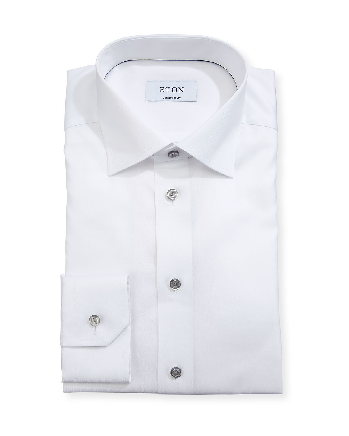 Contemporary-Fit Twill Shirt with Gray Buttons