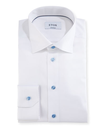 Cotton Twill Dress Shirt w/ Blue Buttons