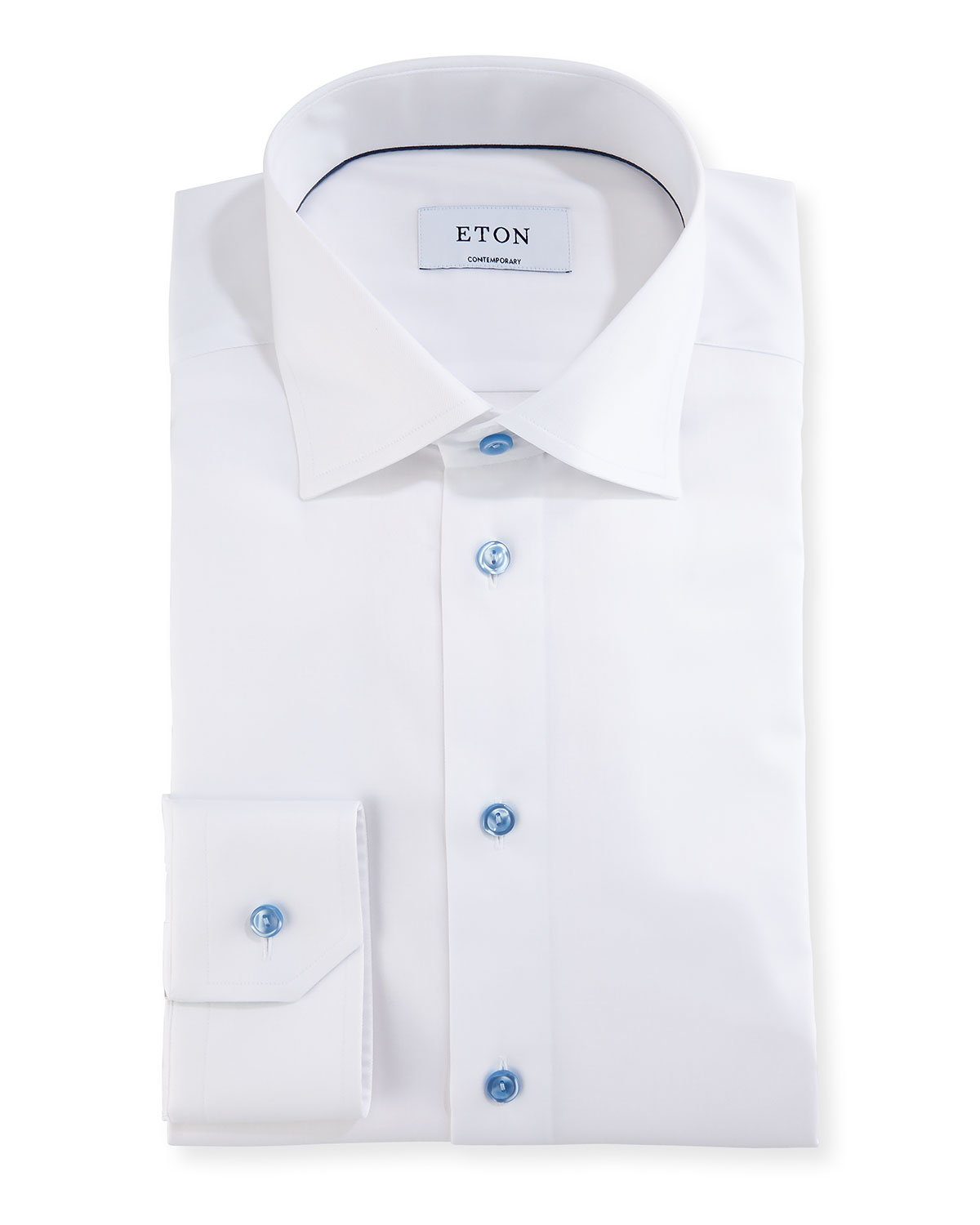 Contemporary Fit Twill Shirt with Blue Buttons