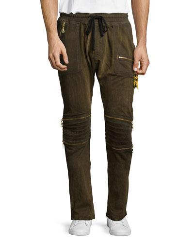 Motard Gold-Coated Jogger Jeans, Gold