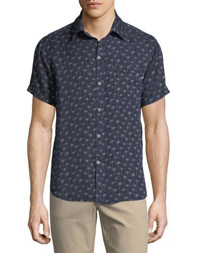 Palm-fetti Print Short-Sleeve Sport Shirt