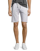 Peppered Flat-Front Sweat Shorts