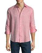 Fray Edge Linen-Blend Sport Shirt