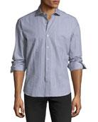 Crinkle-Stripe Cotton Sport Shirt