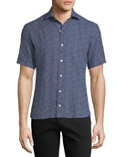 Soft Touch Linen Mini Abstract Short-Sleeve Shirt, Navy
