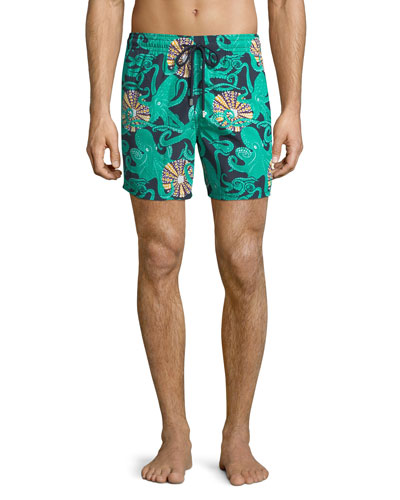 Moorea Octopus-Print Swim Trunks
