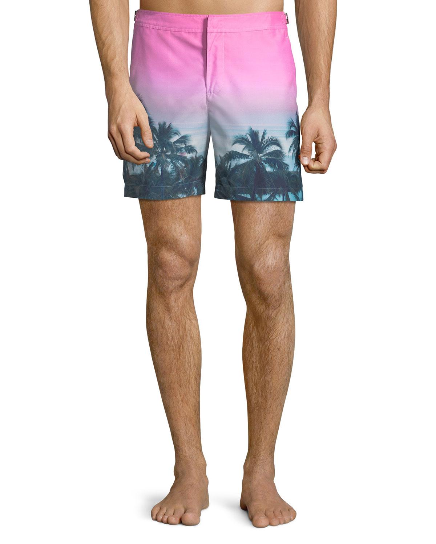Bulldog Tropical-Printed Swim Trunks