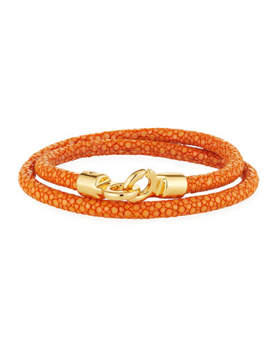 Men's Stingray Wrap Bracelet, Orange/Golden