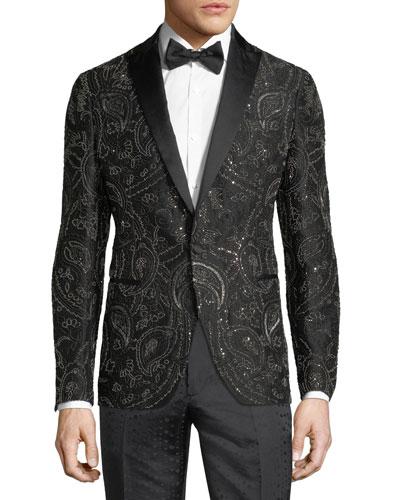Beaded Satin-Trim Evening Jacket